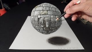 How to Draw 3D Stone Ball, Art Drawing Sphere
