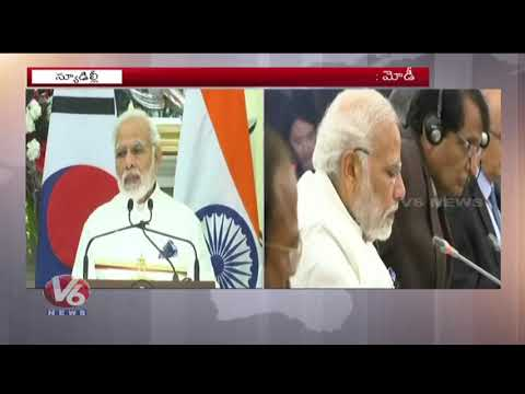 PM Modi Holds Talks With South Korean President Moon Jae-in | Delhi | V6 News
