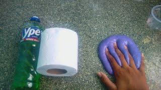 Como fazer slime com detergente e papel higiênico/sem amido de milho/sem tênis pê