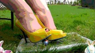 "4"" Yellow Stiletto Springtime Candy Splosh under MY High Heels"