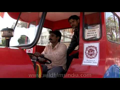 A close view of tourist buses of Gwalior - Gwalior Safari