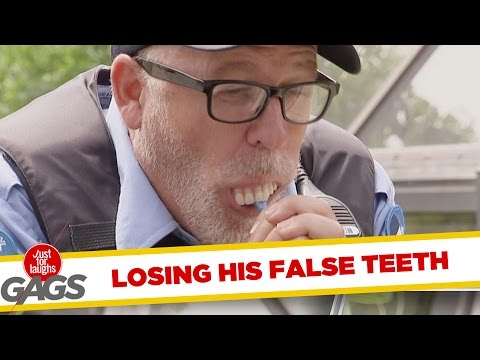 Cop Loses His Denture Prank