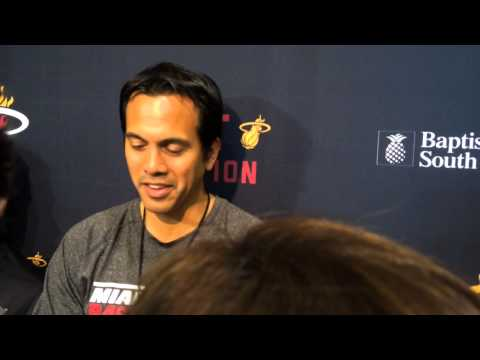 Miami Heat head coach Erik Spoelstra responds to Hassan Whiteside's ejection