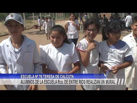 Alumnos de la Escuela República de Entre Ríos pintan un mural