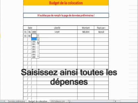 Budget de colocation sur 1001tableurs.com
