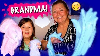 MY GRANDMA MAKES SLIME FOR THE FIRST TIME!!! OMG!