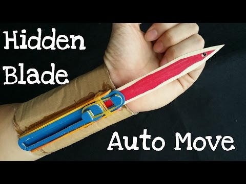 How to make the Full Automatic Hidden Blade   Assassin's Creed   Cardboard & wooden sticks