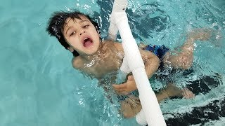TRAPPED IN A SWIMMING POOL / Family Fun Pool Time | Kids swimming lessons