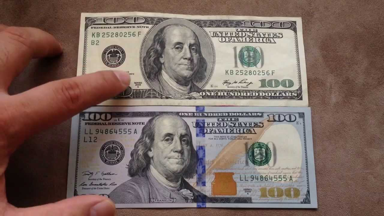 Comparing the new $100 US dollar (Oct 2013) with the old $100 bill. - YouTube