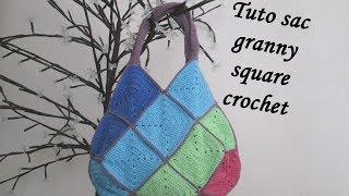 TUTO SAC CARRE GRANNY SQUARE Crochet bag granny square BOLSO CUADROS CROCHET