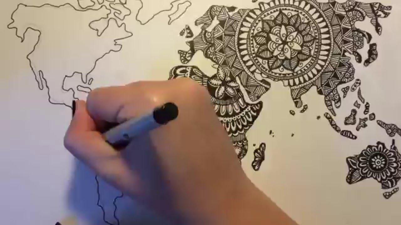 ZenTangle Doodle World Map YouTube