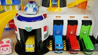 Tayo bus emergency center and Robocar Poli car toys