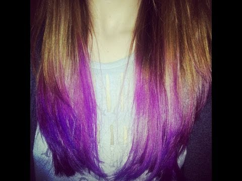 how to dip dye hair ombre purple hair tutorial long