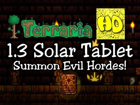 Terraria 1.3 Solar Tablet Summon Item! (1.3 New Event Eclipse)