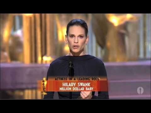 "Hilary Swank winning an Oscar®  for ""Million Dollar Baby"""