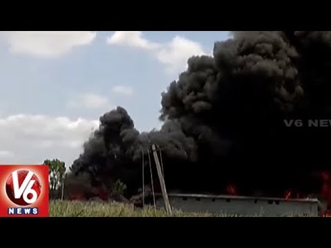 Massive Fire Accident at Plastic Godown In Vijayawada | Andhra Pradesh | V6 News