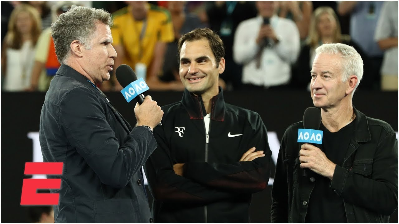 Will Ferrell asks Roger Federer ridiculous questions during interview at Australian Open | ESPN