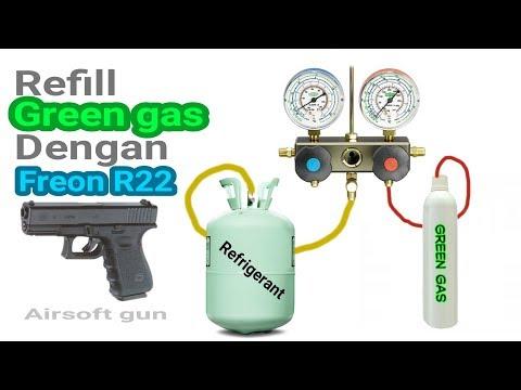 Airsoft gun Refill Green gas dengan Freon R22