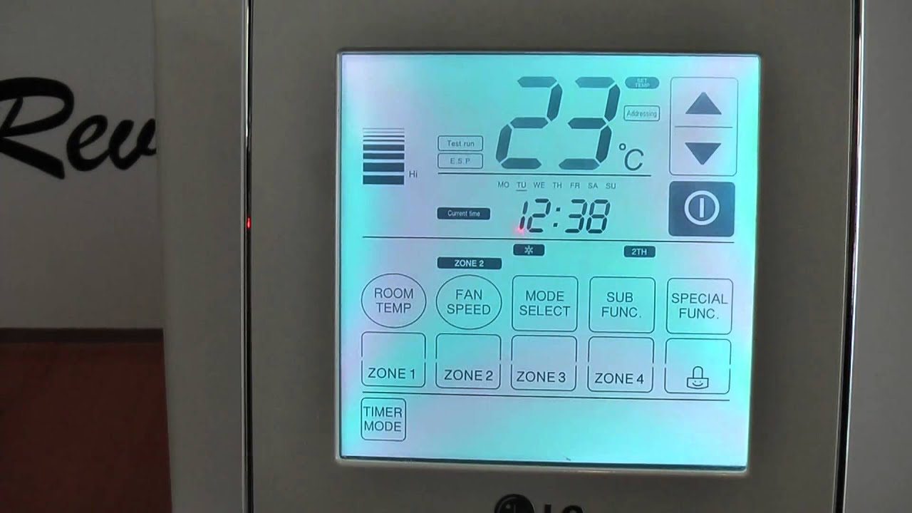 Lg Air Conditioning Wall Controller Set Temp Demo Youtube