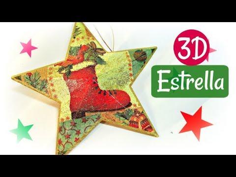 Como hacer estrellas de Navidad 3D. Christmas star.