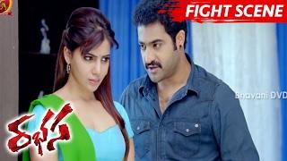 Jr NTR Stunning Fight Scene - Warns Siyaji Shinde - Rabhasa Movie Scenes