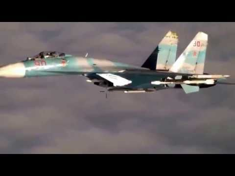 Встреча российского Су-27 с самолетом НАТО в небе над Балтикой...
