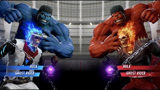 Blue Hulk and Blue Fire Ghost Rider vs Red Hulk and Ghost Rider - MARVEL VS. CAPCOM: INFINITE
