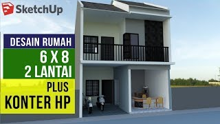 Desain Rumah 6x8 2 Lantai bawah Konter HP