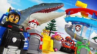 PAW PATROL GET SURPRISE EGGS FROM A GIANT MOSASAURUS!