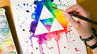 Speed Painting TRIFORCE - The Legend of Zelda - Watercolor Illustration