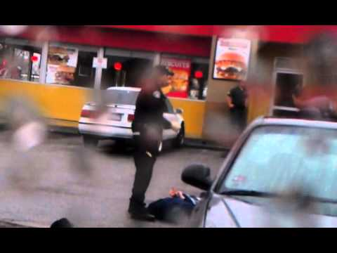 *ORIGINAL FOOTAGE* Suspect with Crowbar Shot Outside Carls Jr Monterey Park