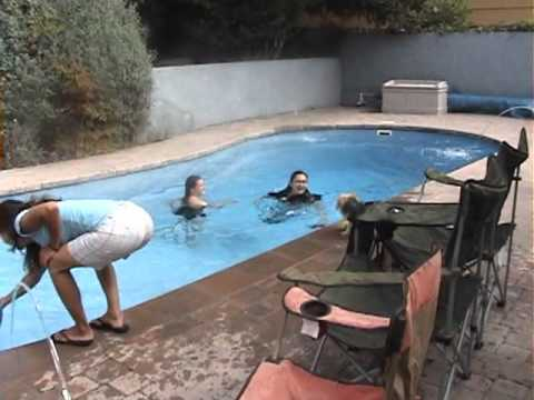 Really Funny - Girls getting thrown fully clothed into the pool