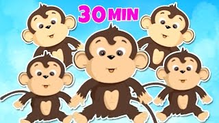 Five Little Monkeys Jumping On The Bed | Nursery Rhymes Songs | Chikaraks