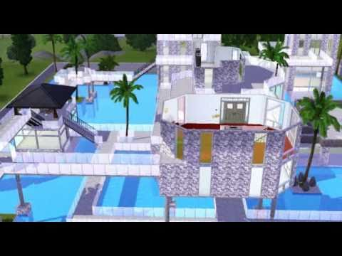 Sims 3 my modern pool aquarium house preview for Pool design sims 3