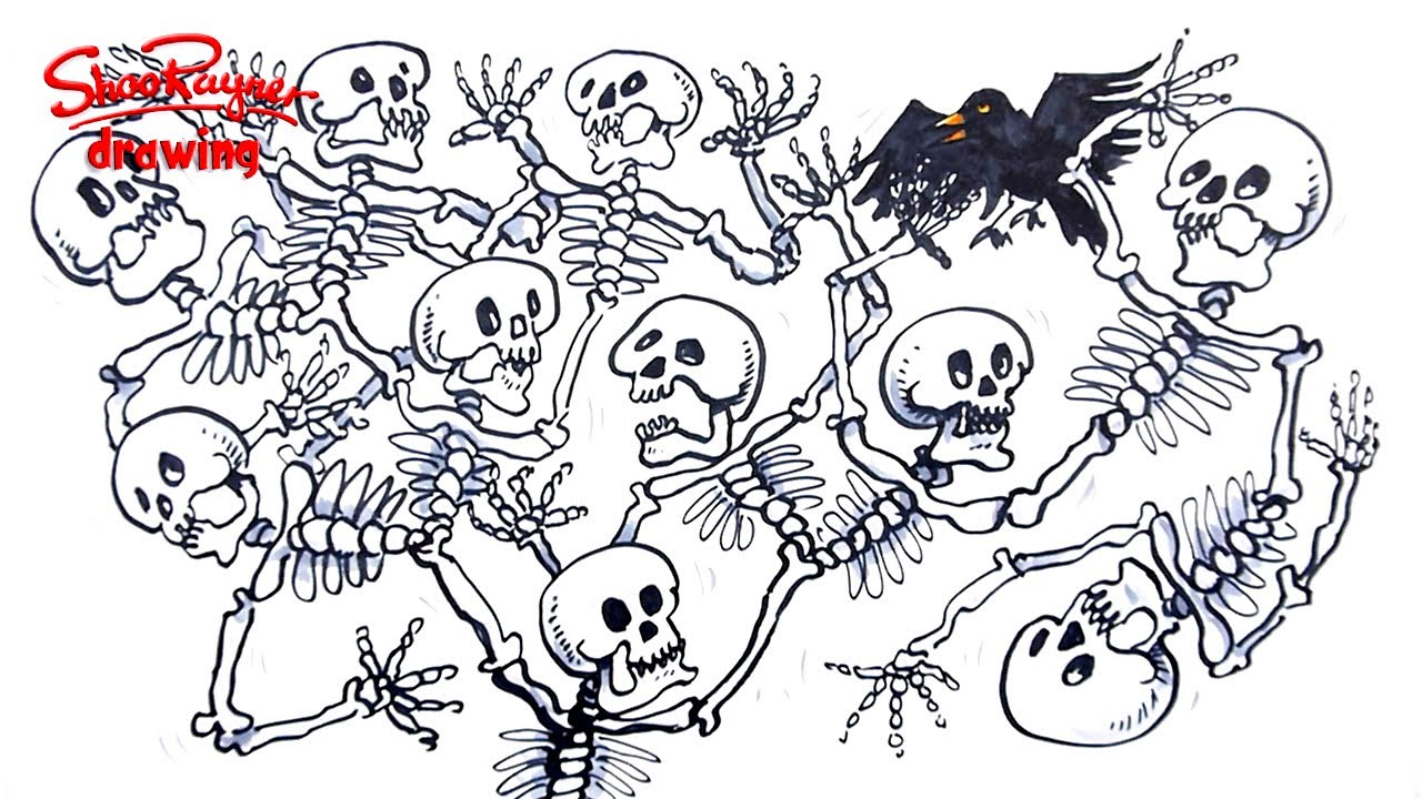 Easy Spooky Tree Drawing How to Draw a Skeleton Tree