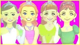 Giúp 6 Búp Bê Giấy Trang Điểm Đi Dự Tiệc Bằng Princess Sticker Face - Đồ Chơi Trẻ Em