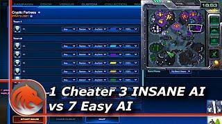 StarCraft 2: Can 1 Cheater 3 (INSANE) AI beat 7 Easy AI's?