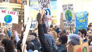 BBC Look North 15th February 2019 Students go 'on strike' over climate change fears