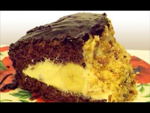 Бисквитный Торт с Бананом, Орехами и Кремом из Сгущёнки «Слоновья Слеза»