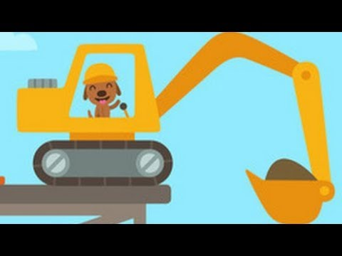 Digger Cartoons for Children - Backhoe, Excavator and Crane - Construction trucks for children Ep#1