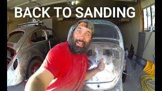 1971 VW Bug Beetle Restoration auto vlog Ep 17 FINALLY! Back to SANDING!