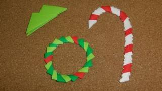 Daily Origami:  161 - Christmas - Wreath And Candy Cane