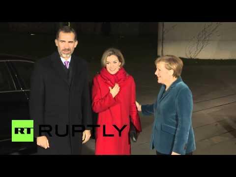 Germany: King Felipe and wife Letizia meet Merkel