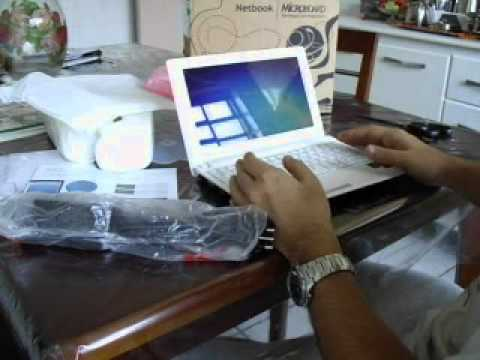 Unboxing e Review netbook  net slim N423 microboard (portugues)