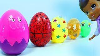 Доктор Плюшева и Сюрпризы Игрушки Молния Маквин. Учить цвета. Doc McStuffins. Surprise Eggs