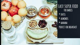 Dry fruit and Banana puree for healthy weight gain II homemade babyfood II 8months+ II dates-almonds