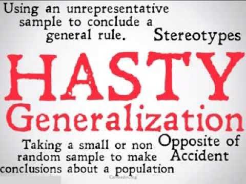Hasty Generalization Logical Fallacy Youtube