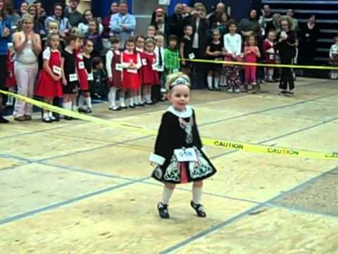 1st feis with her irish dance dress age 3