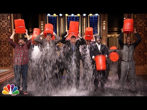 Rob Riggle, Horatio Sanz,Steve Higgins, The Roots,& Jimmy Take the ALS Ice Bucket Challenge