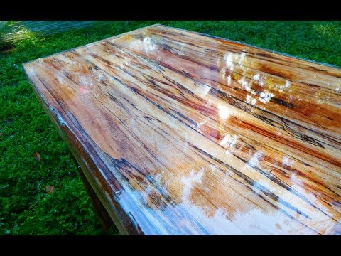 Super High Gloss Table From Tree Limb Repurposing